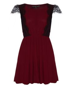 This Burgundy Lace Cap-Sleeve Dress is perfect to go with some black leggings and boots! #zulilyfinds $36.99