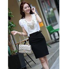 Falda delgada mujer con cinturón – USD $ 30.59