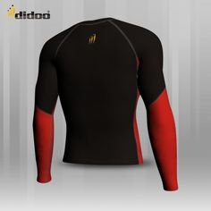 This base layer is made of High Quality Fabric Polyester Elastane Colour-Black and front Red Panel Profile Design, Keep Your Cool, Shirt Sleeves, Wetsuit, Colour Black, Color, Tights, Base, Swimwear