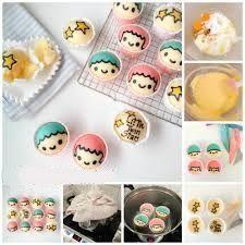 Little Twin Stars Steam Cake Recipe - Little Miss Bento Bento Recipes, Cake Recipes, Cake Cookies, Cupcake Cakes, Steam Cake Recipe, Kawaii Cooking, Steamed Cake, Steamed Buns, Kawaii Dessert