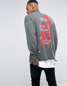 Image 1 ofASOS Oversized Longline Sweatshirt With Back Print & Distressing