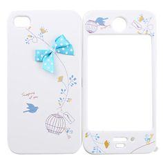 EUR € 4.59 - Case Inteira para iPhone 4/4S - Laço Azul e Pássaro, Frete Grátis em Todos os Gadgets!