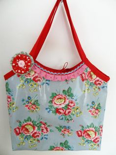 vintage  rose oilcloth bag