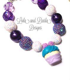 Cupcake necklace birthday girl necklace chunky necklace bubblegum necklace girls necklace fun celebrate cupcake sparkle via Etsy