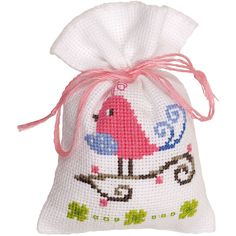 Pink Bird Bag On Aida Counted Cross Stitch Kit, inch x inch, 18 Count, Multicolor Easy Cross Stitch Patterns, Cross Stitch Bird, Simple Cross Stitch, Counted Cross Stitch Kits, Cross Stitching, Dmc Embroidery Floss, Cross Stitch Embroidery, Hand Embroidery, Lavender Bags