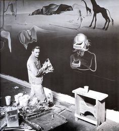 Salvador Dali in his studio.
