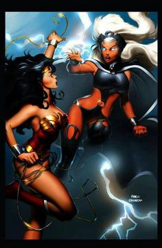 Wonder Woman VS Storm by ~Mystic-Oracle on deviantART Comic Book Characters, Marvel Characters, Comic Character, Comic Books Art, Comic Art, Crossover, Wonder Woman, Storm Marvel, Storm Xmen