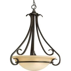 P3847-77:  Torino Forged Bronze Three-Light Pendant