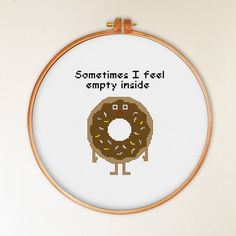 Funny Donut cross stitch pattern modern cross by ThuHaDesign