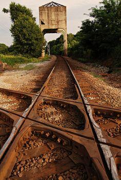 """Crossroads - *Newnan, Georgia*""   Coaling tower where two sets of tracks come together in Coweta County, Newnan, Georgia ~ Photo by Leo Hohmann - June 28 2010 "