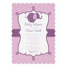 Purple Polka Dot Elephant Baby Shower Invites