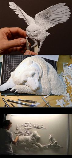 Calvin Nicholls working on his paper sculpture♥🌸♥ Papier Diy, Sculpture Art, Paper Sculptures, Paper Cut Design, Kirigami, Paper Animals, Paper Artwork, Paper Artist, Paper Cutting