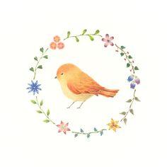 """Little Orange Bird and Wreath"" −RiLi, picture book, illustration, design ___ ""橙色の小鳥と花の輪"" −リリ, 絵本, イラスト, デザイン ...... #illustration #bird #orange #wreath #イラスト #鳥 #橙 #花輪"