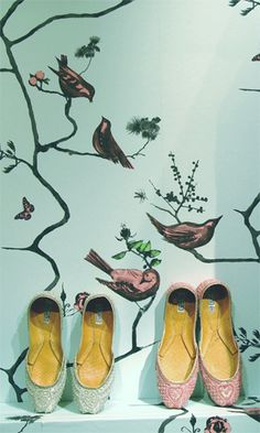 Modern wallpaper: Pavilion Birds print by Louise Body