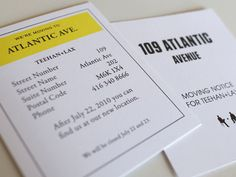"""Monopoly style """"moving notice"""" cards"""