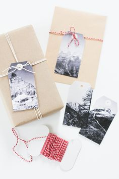 black and white winter scenes gift tags