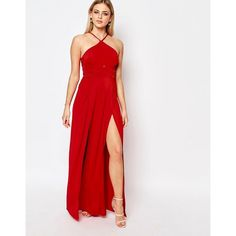 Ariana Grande for Lipsy Halterneck Maxi Dress ($116) ❤ liked on Polyvore featuring dresses, red, lipsy dress, halter-neck tops, halter maxi dress, red maxi dress and halter neck maxi dress
