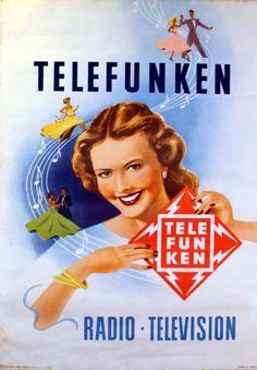 Telefunken Radio Television, 1955 - original vintage poster listed on AntikBar.co.uk