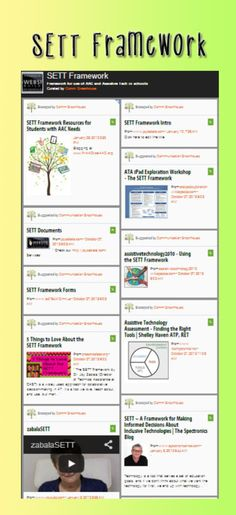 PrAACtical AAC: PrAACtical Resources on the SETT Framework. Pinned by SOS Inc. Resources. Follow all our boards at pinterest.com/sostherapy/ for therapy resources.
