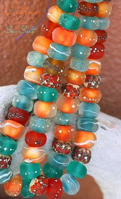 Citrus Coral Strand (50) handmade glass lampwork beads