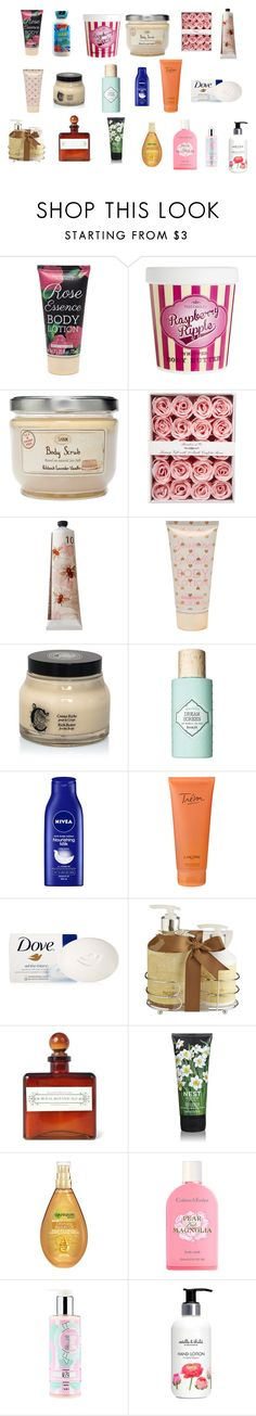 """""""Bath & Body"""" by valentinamenchaca ❤ liked on Polyvore featuring beauty, Forever 21, ASOS, TokyoMilk, Diptyque, Benefit, Nivea, Lancôme, Dove and Pier 1 Imports"""