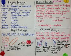 Physical and Chemical Properties and Changes - and other nice images of how this teacher organizes notes on her whiteboard Chemistry Classroom, High School Chemistry, Teaching Chemistry, Chemistry Lessons, Science Chemistry, Middle School Science, Physical Science, Science Lessons, Science Education