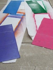 Painted cardboard boxes