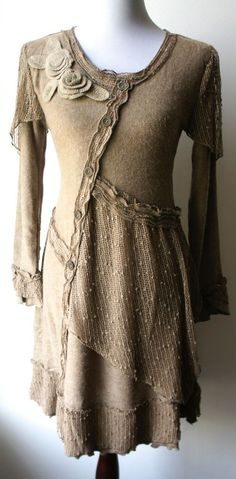 Pretty Angel Vintage Boho Peasant Ecru Sweater Dress-Textured, sparkling, UNIQUE #PrettyAngel #Tunic