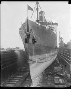 SS Leviathan in dry dock, Boston