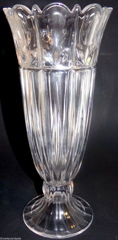 """Vintage Crystal Flower Vase Tulip Design Scalloped Rim Footed 11"""" Tall #Unknown"""