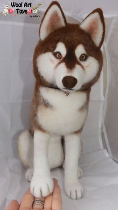 Custom Needle felted Dog Siberian Husky Amber by WoolArtToys