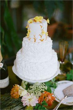 3 tiered textured white wedding cake #weddingcake #weddingideas #weddingchicks http://www.weddingchicks.com/2014/03/12/vintage-garden-wedding-ideas-3/