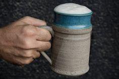 Large Handmade Ceramic Beer Mug / Pottery Beer Stein / Beer Tankard / Gift for men - by MadAboutPottery