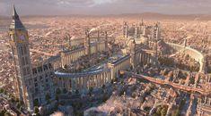 The capital Fantasy City Building Cityscape Wallpaper Fantasy City, Fantasy Castle, Fantasy Places, Fantasy World, Fantasy Art Landscapes, Fantasy Landscape, Urban Landscape, Fantasy Concept Art, Futuristic City