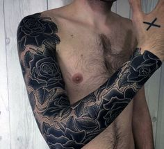 Guy With Dark Black Roses Dotwork Tattoo On Sleeves