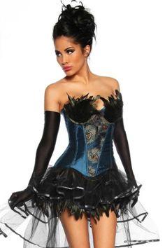 Damen Pfau Corsage ca 29€ | Kostüm-Idee zu Karneval, Halloween & Fasching