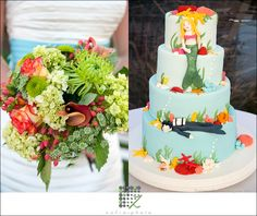 This gorgeous mermaid and scuba diver cake by Jodi's Cakes is a beautiful visual description of this couple and they're individual personalities. The seasonal fall bouquet and teal belt add a big pop of color to their Nantucket wedding.