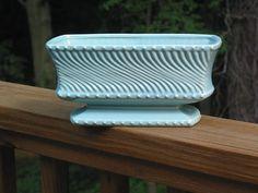 McCoy Pottery large aqua turquoise swirl wave pedestal window box planter vase holder on Etsy, $38.00