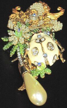 STANLEY HAGLER Rhinestone Glass Seed Bead & Enamel Lady Bug Pin