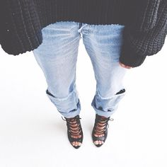 laced heels & chunky sweater