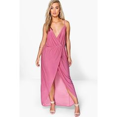 Boohoo Plus Malia Strappy Slinky Wrap Maxi Dress (1,635 INR) ❤ liked on Polyvore featuring dresses, strappy dress, white strap dress, spaghetti-strap maxi dresses, boohoo dresses and wrap dress
