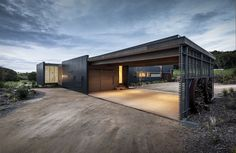 The carport of the Foam Road Fingal Residence by Jam Architecture. The home is in Fingal, a rural locality of the Mornington Peninsula in Victoria, Australia.