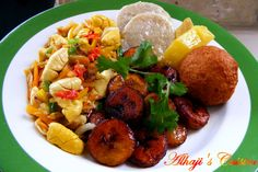 jamaican breakfast food. ackee and saltfish. boil and fried dumplin. Yellow yam. fried ripe banana, otherwise known as plantains. in my family, we eat with green banana, and breadfruit as well.