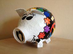 Hippi - Sau - 70iger Jahre  Geldgeschenk - Unikat - Sparschwein XXL - Schwein