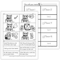 Fichiers PDF téléchargeables En noir et blanc seulement 2 versions disponibles (2 pages ou 3 pages) Version 1 (2 pages): L'élève doit d'abord découper et replacer les images dans le bon ordre. Ensuite, il colle le texte en lien sous chaque image (sur la 2e page). Version 2 (3 pages): L'histoire est déjà placée dans le bon ordre, l'élève associe le texte à la bonne image.