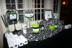 Black, White, and Lime Green Candy Buffet