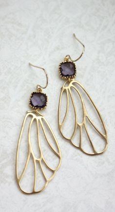 Purple Glass, Angel Wings ♥ Gold Earrings From Marolsha.  https://www.etsy.com/listing/168558012/gold-wings-earrings-angel-filigree-wings?ref=shop_home_active