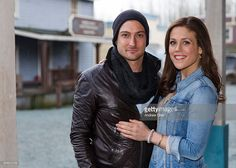 Australian actor Daniel Lissing and American actress Erin Krakow pose for a portrait during Hearties Family Reunion fan convention for 'When Calls The Heart' at Jamestown on January 16, 2016 in Langley, Canada.