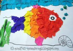Craft of the day   rainbow fish +  + Preschooler Crafts & Activities Pasting activities Kindergarten Crafts & Activities