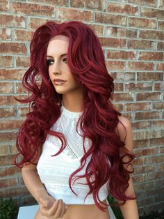 CRIMSON Burgandy Red Body Curls Multi Parting Blended Human Hair Lace Front Wig 24' Lace front wigsPaige Bella- Nikki Bella Hair www.NikkiBellaHair.com
